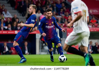 MADRID - APR 21: Lionel Messi plays at the Copa del Rey final match between Sevilla FC and FC Barcelona at Wanda Metropolitano Stadium on April 21, 2018 in Madrid, Spain.