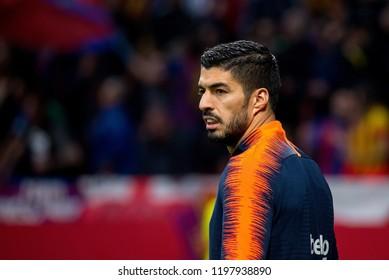 MADRID - APR 21: Luis Suarez plays at the Copa del Rey final match between Sevilla FC and FC Barcelona at Wanda Metropolitano Stadium on April 21, 2018 in Madrid, Spain.