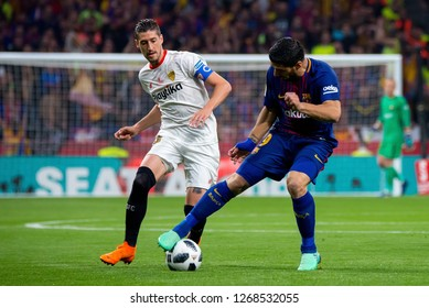 MADRID - APR 21: Luis Suarez plays at the Copa del Rey final match between Sevilla FC and FC Barcelona at Wanda Metropolitano Stadium on April 21, 2018 in Madrid, Spain.