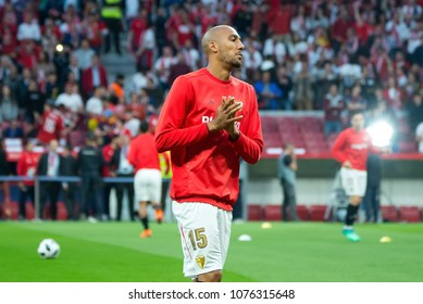 MADRID - APR 21: Nzonzi plays at the Copa del Rey final match between Sevilla FC and FC Barcelona at Wanda Metropolitano Stadium on April 21, 2018 in Madrid, Spain.