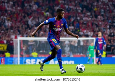 MADRID - APR 21: Ousmane Dembele plays at the Copa del Rey final match between Sevilla FC and FC Barcelona at Wanda Metropolitano Stadium on April 21, 2018 in Madrid, Spain.