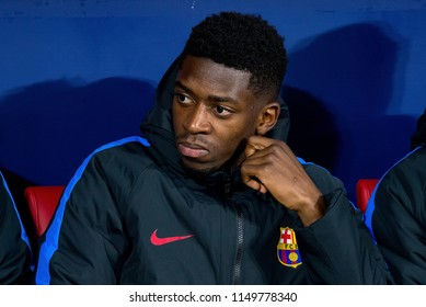 MADRID - APR 21: Ousmane Dembele sits on the bench at the Copa del Rey final match between Sevilla FC and FC Barcelona at Wanda Metropolitano Stadium on April 21, 2018 in Madrid, Spain.