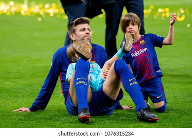 MADRID - APR 21: Pique celebrates with his family at the Copa del Rey final match between Sevilla FC and FC Barcelona at Wanda Metropolitano Stadium on April 21, 2018 in Madrid, Spain.