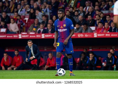 MADRID - APR 21: Samuel Umtiti plays at the Copa del Rey final match between Sevilla FC and FC Barcelona at Wanda Metropolitano Stadium on April 21, 2018 in Madrid, Spain.