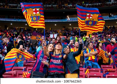 MADRID - APR 21: Supporters at the Copa del Rey final match between Sevilla FC and FC Barcelona at Wanda Metropolitano Stadium on April 21, 2018 in Madrid, Spain.