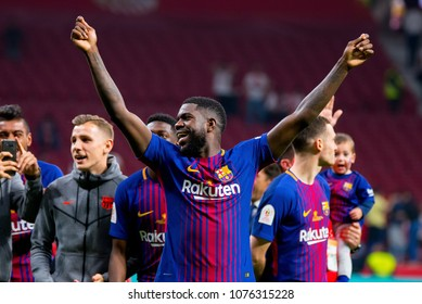 MADRID - APR 21: Umtiti celebrates the title consecution at the Copa del Rey final match between Sevilla FC and FC Barcelona at Wanda Metropolitano Stadium on April 21, 2018 in Madrid, Spain.