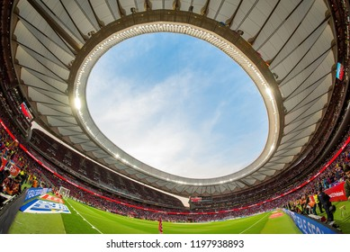 MADRID - APR 21: View of the Wanda Metropolitano Stadium at the Copa del Rey final match between Sevilla FC and FC Barcelona on April 21, 2018 in Madrid, Spain.