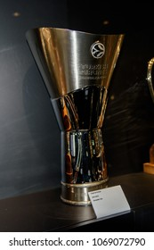 MADRID - APRIL 14, 2018: Authentic basketball cup and awards in the Museum of Real Madrid team, Santiago Bernabeu Stadium