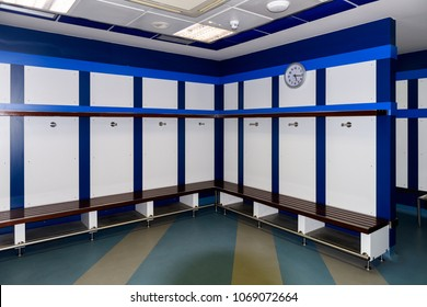 MADRID - APRIL 14, 2018: Dressing room of the visitors , Santiago Bernabeu Stadium
