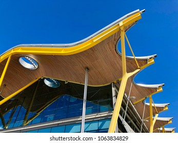MADRID - APRIL 8, 2018: Architectural features of Terminal 4S at Adolfo Suarez Madrid Barajas International Airport in Madrid, Spain.