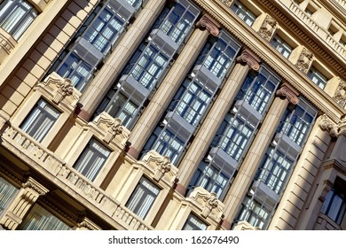 Madrid. Architecture fragment of the facade with columns.