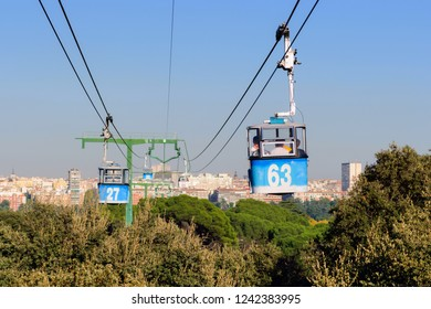 Madrid Cable Car (Teleferico de Madrid) with the city behind