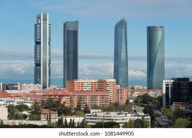 Madrid cityscape at daytime. Landscape of Madrid business building at Four Tower. Modern high building in business district area at Spain.