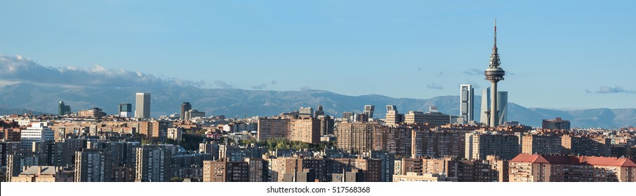 Madrid cityscape panorama with some emblematic buildings: skyscrapers, piruli, and kio towers. Madrid, Spain.
