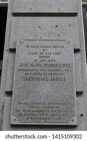 MADRID, COMMUNITY OF MADRID, SPAIN - MAY, 5TH, 2019: Commemorative plaque of the interpretation of the song of the Tree of Guernica (Gernikako Arbola) in the Cafe Saint Louis of Madrid