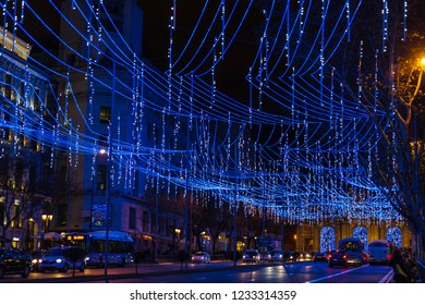 MADRID - DECEMBER 29, 2017: Night view of the Calle de Alcalá in Madrid, decorated for Christmas.