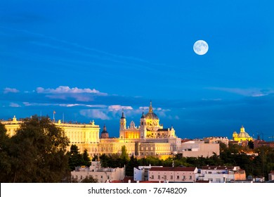 Madrid - evening panorama with the Almudena Cathedral and the Royal Palace