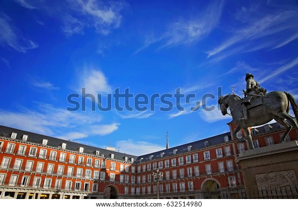 Madrid, Famous Plaza Mayor in Historic part of the city