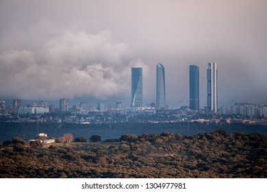 MADRID - FEB 1 : Skyline at background with Financial Towers Area, on February 1, 2019, in Madrid city, Spain.