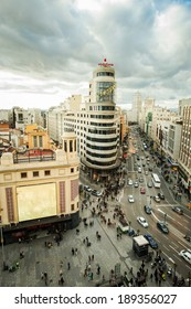 MADRID - Feb 22: Overview of the Gran Via on February 22, 2014 in Madrid, Spain.
