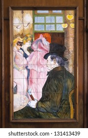 MADRID - FEB 23: Mosaic of Toulouse Lautrec on February 23, 2013 in Madrid, Spain. Mosaic on the facade of a cafe in Madrid 1864, inspired by a painting by Toulouse Lautrec.
