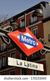 MADRID - FEB 3: Metro station sign on February 3, 2013 in Madrid (Spain). The Metro of Madrid has more than 300 stations.