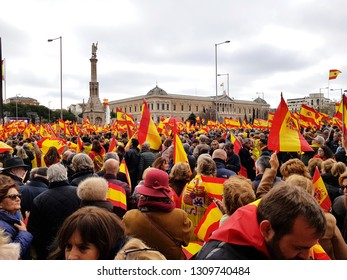 Madrid, February 10, 2019. Spanish citizens attend the demonstration against the socialist government in Madrid