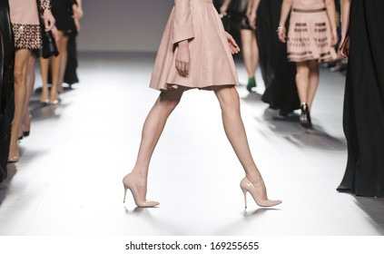 MADRID - FEBRUARY 18: Details of shoes and dresses on the Teresa Helbig catwalk during the Cibeles Madrid Fashion Week runway on February 18, 2013 in Madrid.
