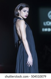 MADRID - FEBRUARY 19: a model walks on the Hannibal Laguna catwalk during the Mercedes-Benz Fashion Week Madrid Fall/Winter 2016 runway on February 19, 2016 in Madrid.
