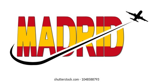 Madrid flag text with plane silhouette and swoosh illustration