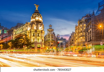 Madrid gran via at dusk time ,Spain