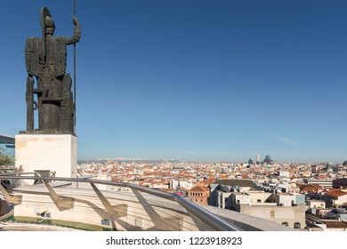 MADRID - JAN 18: Sculpture of Minerva roman goddess at Circle Fine Arts rooftop on January 18, 2018 in Madrid, Spain