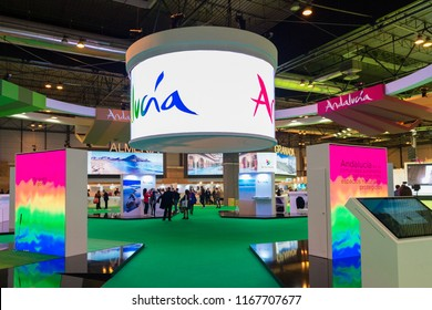 MADRID - JAN 19: Andalusia stand in FITUR (International Tourism Fair) on January 19, 2018 in Madrid, Spain