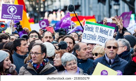MADRID - JAN 31: Thousands gather to protest for economic equality in Madrid, Spain on January 31, 2015.More than 100,000 people collapse Madrid in the March change Podemos