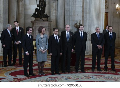 MADRID, JANUARY 16: Spanish King and Queen pose besides the Spanish Prime Minister and former Prime Ministers and Nicolas Sakorzy with the Golden Fleece, on January 16, 2012 in Madrid