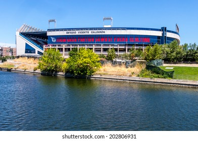 MADRID JULY 1, 2014: Vicente Calderon stadium, home of Atletico de madrid champions league finalist Spanish football and European Champions League in 2014.  In Madrid, Spain on July 1, 2014.