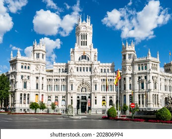 MADRID JULY 2, 2014  Cibeles Palace (Palacio de Cibeles): City Hall of Madrid (formerly Palace of Communication), cultural center and iconic monument of the city.  In Madrid, Spain on July 2, 2014.