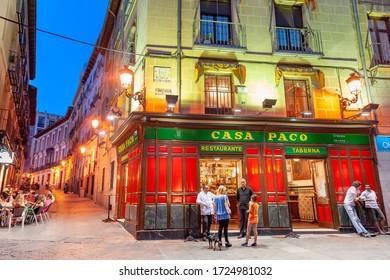 MADRID - JULY 4, 2012: Bar Casa Paco in La Latina district of the city at night