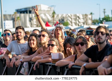 MADRID - JUN 22: The audience in a concert at Download (heavy metal music festival) on June 22, 2017 in Madrid, Spain.