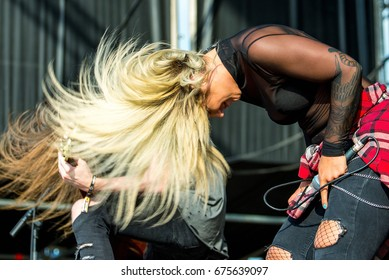 MADRID - JUN 22: The Charm The Fury (music band) perform in concert at Download (heavy metal music festival) on June 22, 2017 in Madrid, Spain.