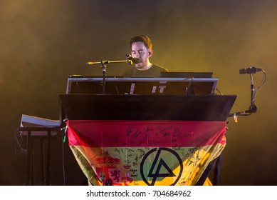 MADRID - JUN 22: Mike Shinoda, singer of Linkin Park (music band), performs in concert at Download (heavy metal music festival) on June 22, 2017 in Madrid, Spain.
