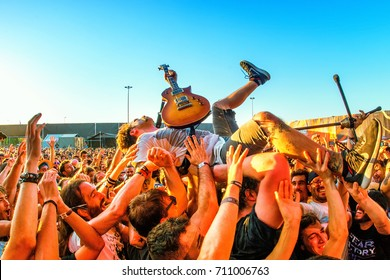 MADRID - JUN 23: Every Time I Die (metalcore music band) perform in concert with the crowd at Download (heavy metal music festival) on June 23, 2017 in Madrid, Spain.