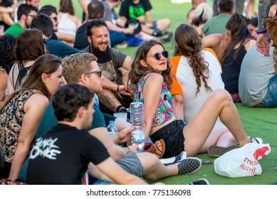 MADRID - JUN 23: People in a concert at Download (heavy metal music festival) on June 23, 2017 in Madrid, Spain.