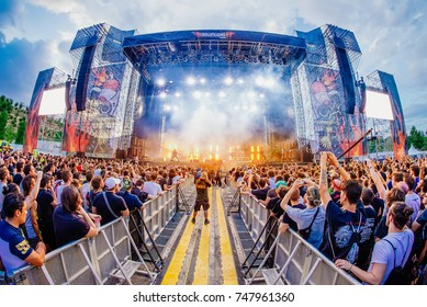 MADRID - JUN 24: The crowd in a concert at Download (heavy metal music festival) on June 24, 2017 in Madrid, Spain.