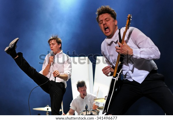 MADRID - JUN 25: The Hives (band) in concert at Universidad Complutense on June 25, 2011 in Madrid, Spain.