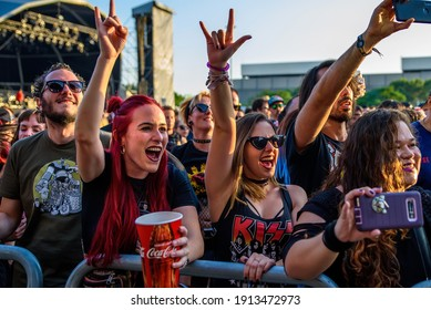 MADRID - JUN 30: The crowd in a concert at Download (heavy metal music festival) on June 30, 2019 in Madrid, Spain.
