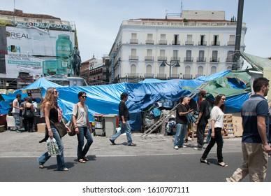 Madrid, June 11, 2011, tents in the Puerta del Sol, 15M movement