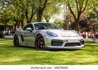 Madrid - June 24 : 2015 New 2015 Porsche Cayman GT4 Autobello 2015 Madrid, Spain