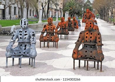 MADRID - MAR 02 2010: Modern Sculptures at Paseo del Prado street at the historical center of Madrid, Spain.