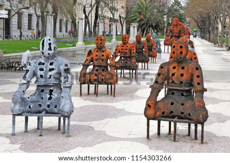 MADRID - MAR 02 2010: Modern Sculptures at Paseo del Prado street at the historical center of Madrid, Spain.